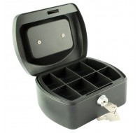 Q-Connect 6 Inch Black Cash Box KF02601 - Locable Cash Boxes