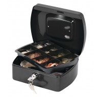 Q-Connect 8 Inch Black Cash Box KF02602 - Locable Cash Boxes