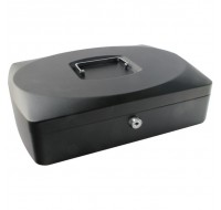 Q-Connect 10 Inch Black Cash Box KF02603 - Locable Cash Boxes