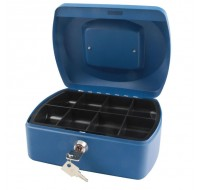 Q-Connect 8 Inch Blue Cash Box KF02623 - Locable Cash Boxes