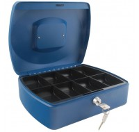 Q-Connect 10 Inch Blue Cash Box KF02624 - Locable Cash Boxes