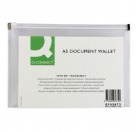Q-Connect A5 Transparent Document Zip Wallets KF03672 - Zip Lock Bags & Resealable Plastic Bags