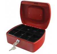 Q-Connect 8 Inch Red Cash Box KF04249 - Locable Cash Boxes