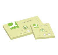 Q-Connect Yellow Quick Note Repositionable Recycled Pads 75x125mm KF05610