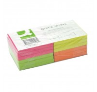 Q-Connect Quick Note Assorted Neon Repositionable Pads 75x75mm KF10508