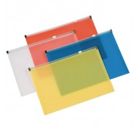Q-Connect Assorted A4 Zip Document Wallets KF16552 - Press Stud Document Wallets