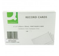 Q-Connect 6x4 Inches White Ruled Feint Record Cards KF35205