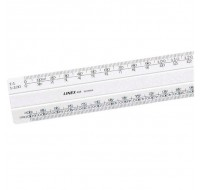 Linex 300mm 1:5:500 Scale White Flat Ruler 433 LXH - Scale Ruler