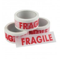 Ambassador White/Red Fragile Printed Vinyl Tape 50mm x 66 Metres - Printed Tape