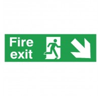 Fire Exit Running Man Arrow Down/Right 150 x 450mm PVC Safety Sign FX04111R - Fire Exit Signs