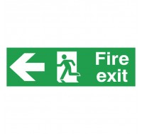 Fire Exit Running Man Arrow Left 150 x 450mm PVC Safety Sign FX04311R - Fire Exit Signs