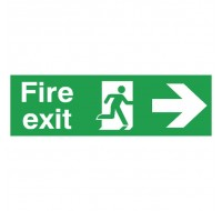 Fire Exit Running Man Arrow Right 150 x 450mm PVC Safety Sign FX04411R - Fire Exit Signs