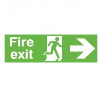 Niteglo Fire Exit Running Man Arrow Right 150 x 450mm PVC Safety Sign FX04411M - Fire Exit Signs