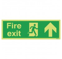 Niteglo Fire Exit Running Man Arrow Up 150 x 450mm PVC Safety Sign FX04711M - Fire Exit Signs