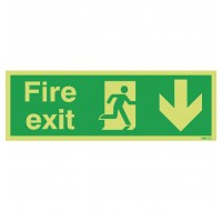 Niteglo Fire Exit Running Man Arrow Down 150 x 450mm PVC Safety Sign FX04211M - Fire Exit Signs