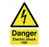 Danger Electric Shock Risk A5 Self-Adhesive Safety Sign HA10751S - Workplace Danger Signs