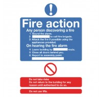 Fire Action Standard A5 Self-Adhesive Safety Sign FR03551S - Fire Exit Signs