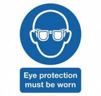 Eye Protection Must Be Worn A4 PVC Safety Sign MA01250R - Safety Signs Workplace