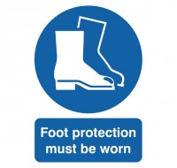 Foot Protection Must Be Worn A4 PVC Safety Sign MA01450R - Safety Signs Workplace