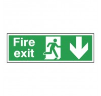 Fire Exit Running Man Arrow Down 150 x 450mm Self-Adhesive Safety Sign E100A/S - Fire Exit Signs