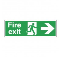 Fire Exit Running Man Arrow Right 150 x 450 Self-Adhesive Safety Sign E99A/S - Fire Exit Signs