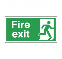 Fire Exit Running Man Right 150 x 300mm Self-Adhesive Safety Sign E98A/S - Fire Exit Signs