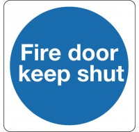 Fire Door Keep Shut 100 x 100mm Self-Adhesive Safety Sign KM14AS - Fire Exit Signs