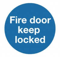 Fire Door Keep Locked 100 x 100mm Self-Adhesive Safety Sign KM72A/S - Fire Exit Signs