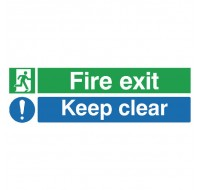 Fire Exit Keep Clear 150 x 450mm PVC Safety Sign EC08S/R - Fire Exit Signs