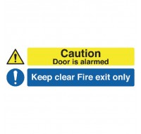 Caution This Door Is Alarmed Fire Exit Only Self-Adhesive 150 x 450mm Safety Sign - Fire Exit Signs