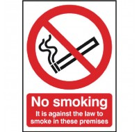 No Smoking PVC 210 x 148mm Self-Adhesive Safety Sign - No Smoking Signs