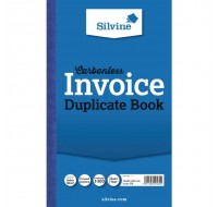Silvine Carbonless Invoice Duplicate Book 8.25x5 Inches 711-T