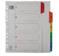 A4 Mylar 1-5 Multi-Colour Index WX01518 - Numbered Index