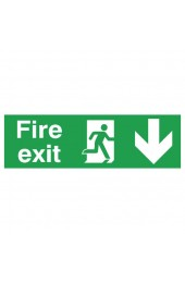 Fire Exit Running Man Arrow Down 150 x 450mm PVC Safety Sign FX04211R - Fire Exit Signs